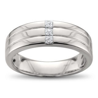 Men's 14k White Gold 1/5ct Baguette-cut Diamond Wedding Band (H-I, I1)