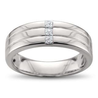 Men's 14k White Gold 1/5ct Baguette-cut Diamond Wedding Band (H-I, I1)