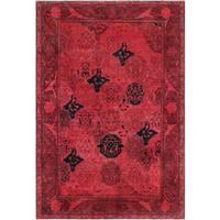Noori Rug Peshawar Gokhan Red/Blue Wool Overdyed Rug (5'11 x 8'9)