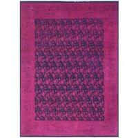 Noori Rug Overdyed Peshawar Fato Purple-Pink/Blue Wool Rug (8'5 x 11'2)