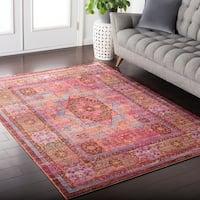 Haute-Hali Persian Bohemian Distressed Pink Area Rug (9' x 11'10)