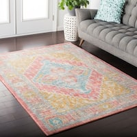 Hali-House Distressed Persian Vintage Pastel-Pink/Blue Area Rug - 9' x 11'10""