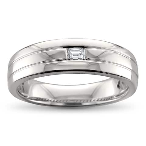 Men's 14k White Gold 1/8ct Baguette-cut Diamond Wedding Band (H-I, VS2)