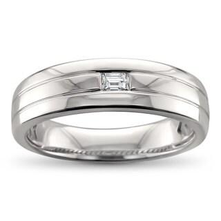 Men's 14k White Gold 1/8ct Baguette-cut Diamond Wedding Band (H-I, VS2)