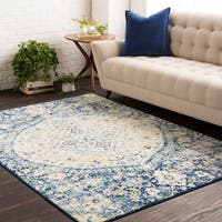 Amelia Vintage Persian Medallion Blue Area Rug - 9'3 x 12'6