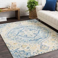 Amelia Vintage Persian Medallion Cream/Blue Area Rug (9'3 x 12'6)