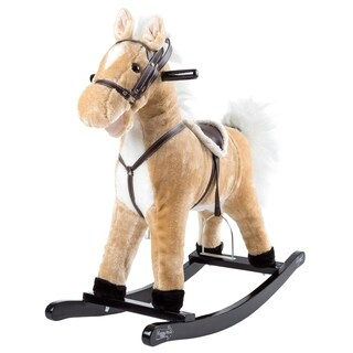 Happy Trails Brown Rocking Horse Plush Animal on Wooden Rockers with Sounds