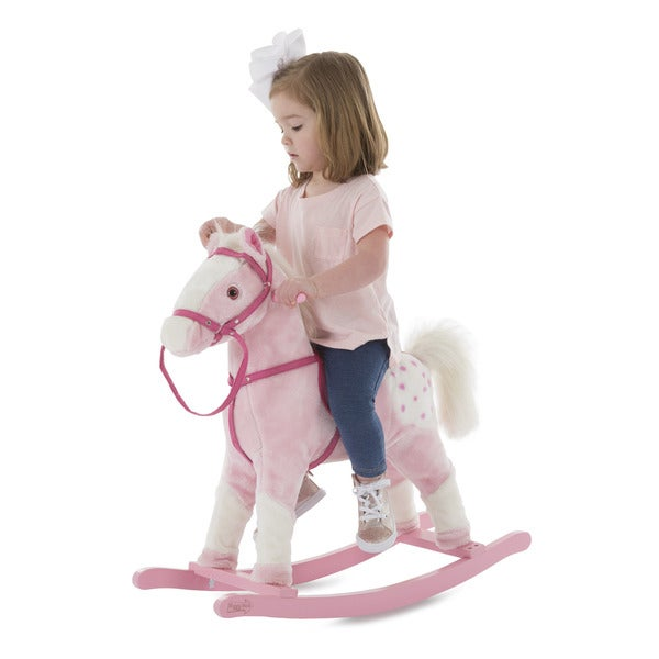 Happy Trails Pink Rocking Horse Plush Animal on Wooden Rockers