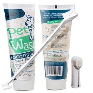 OxGord Pet Oral Dental Care Toothbrush Toothpaste for Dog Fresh Breath Plaque Removal