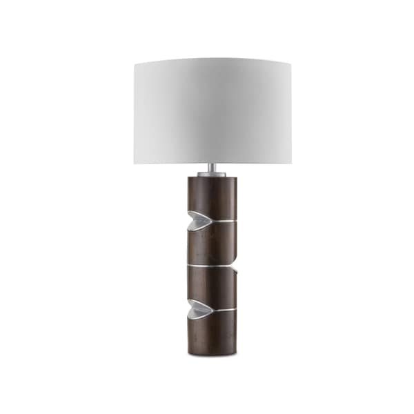 Nova Lighting Pacman Silver and Brown Linen/Wood/Aluminum Table Lamp