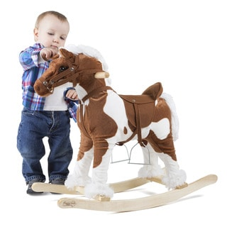 Happy Trails Clydesdale Rocking Horse Plush Animal on Wooden Rockers
