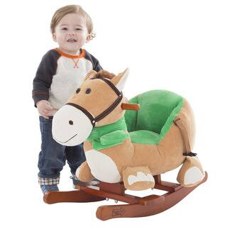 Happy Trails Brown Rocking Horse Plush Animal on Wooden Rockers|https://ak1.ostkcdn.com/images/products/15891807/P22297627.jpg?impolicy=medium