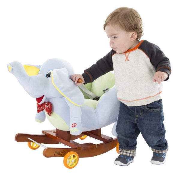 Happy Trails Rocking Horse Plush Animal Elephant 2-in-1 Wooden Rockers & Wheels