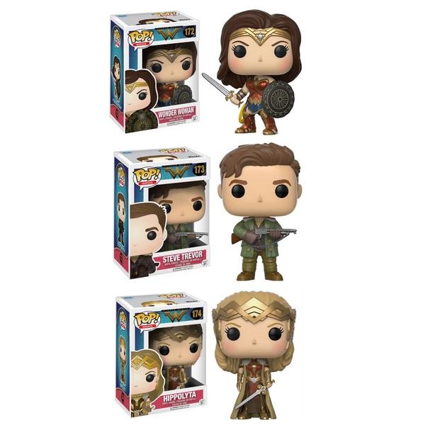 Funko POP! Movies Heros Wonder Woman Collectors Set; Sword & Shield Wonder Woman, Hippolyta, Steve Trevor