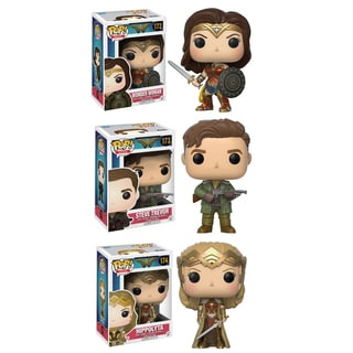 Funko POP! Movies Heros Wonder Woman Collectors Set; Sword & Shield Wonder Woman, Hippolyta, Steve Trevor