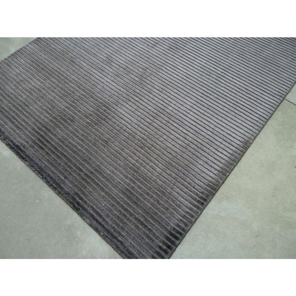 Dark Grey Silk Viscose Hand-loomed Handmade In India Area Rug - 8' x10'