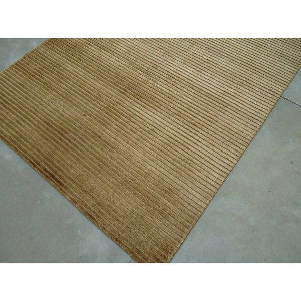 Brown Silk Viscose Hand Loom Handmade In India Area Rug - 8' x 10'