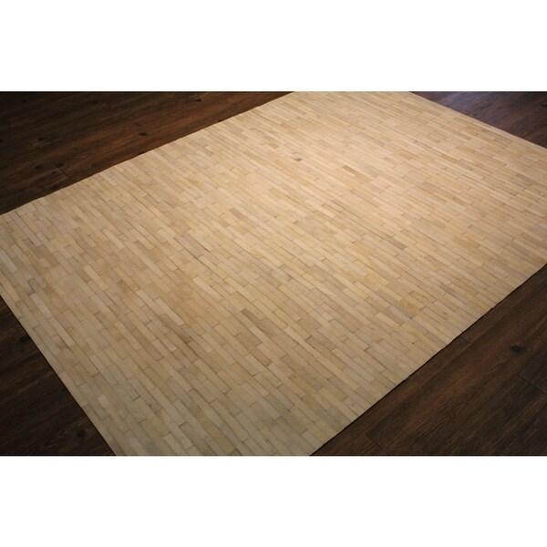 White/Beige Hair-on Hide Striped Rug - 7'6 x 9'6
