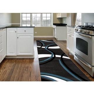 "Contemporary Modern Wavy Circles Grey Area Runner Rug (2'x7'3"")"
