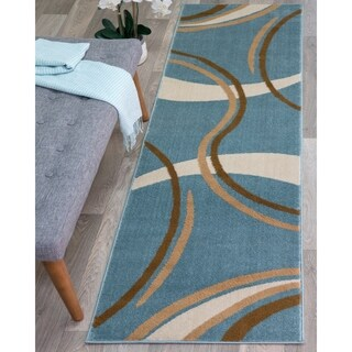 Contemporary Modern Wavy Circles Blue Area Runner Rug - 2' x 7'2""