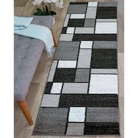 Contemporary Modern Boxes Grey Area Runner Rug - 2' x 7'2""