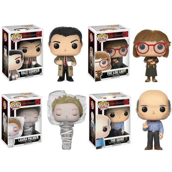 Funko Television POP! Twin Peaks Collectors Set; Agent Copper, Log Lady, Laura in plastic wrap, Giant