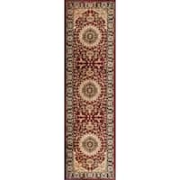 "Traditional Oriental Medallion Design Burgundy Area Runner Rug (2'x7'3"") - 2' x 7'2"""