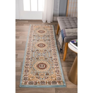 "Traditional Oriental Medallion Design Blue Area Runner Rug (2'x7'3"")"