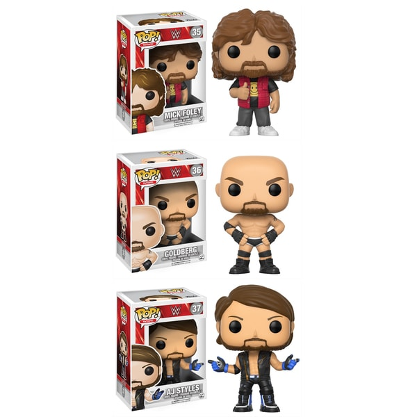 Funko POP! WWE Collectors Set; Mick Foley Old School, Goldberg Old School, AJ Styles