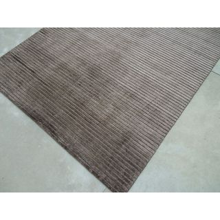 Chocolate Silk Hand-loomed Viscose Handmade in India Area Rug (5' x 8')