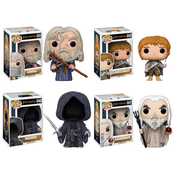 Funko POP! Movies Lord of the Rings Hobbit Collectors Set; Gandalf, Samwise Gamgee, Nazgul, Saruman