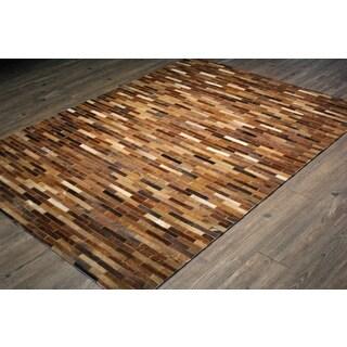 Brown/Tan Asymmetric Striped Hair-on Hide Leather Area Rug (5' x 7')