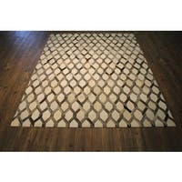 Mosaic Grey/White Premium Hair-on Hide Leather Area Rug - 5' x 7'
