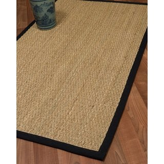 Natural Area Rugs Handcrafted Mayfair Natural Seagrass Runner Rug - Black Binding (2'6 x 8')