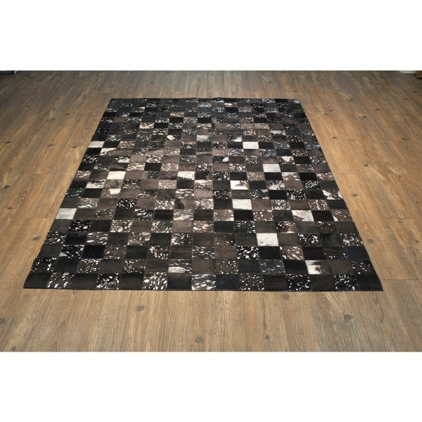 Checked Black Grey Rug: Shop Black/Grey Hair-on Hide Checker-pattern Abstract Rug