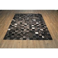 Black/Grey Hair-on Hide Checker-pattern Abstract Rug - 5' x 7'