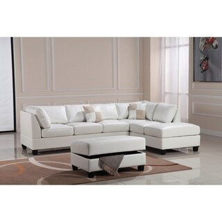 LYKE Home Contemporary Leather-look PU Reversible Sectional Sofa