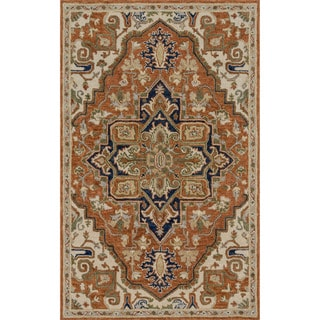 """Hand-hooked Rust/ Stone Classic Medallion Wool Area Rug - 9'3"""" x 13'"""
