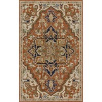 Hand-hooked Rust/ Stone Classic Medallion Wool Area Rug - 9'3 x 13'