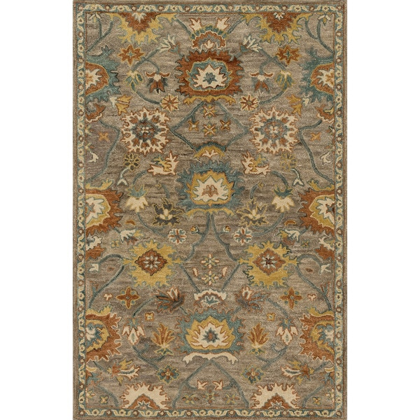 Shop Hand Hooked Taupe Blue Classic Floral Wool Area Rug