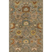 Hand-hooked Taupe/ Blue Classic Floral Wool Area Rug - 9'3 x 13'