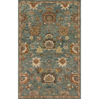Hand-hooked Blue/ Rust Classic Floral Wool Area Rug - 9'3 x 13'