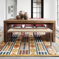 Hand-hooked Rust/ Blue Boho Wool Area Rug with Fringe - 9'3 x 13'