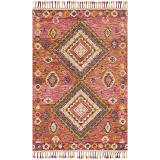 "Hand-hooked Pink/ Orange Geometric Wool Area Rug with Fringe - 9'3"" x 13'"
