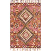 Hand-hooked Pink/ Orange Geometric Wool Area Rug with Fringe - 9'3 x 13'