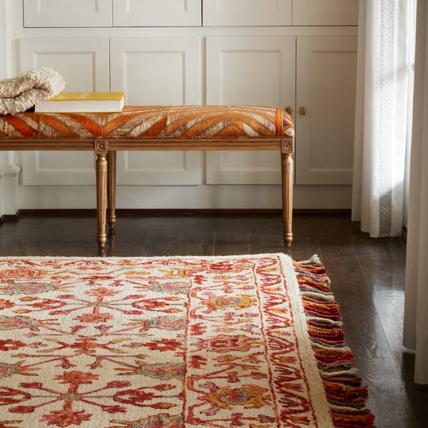 Hand Hooked Pink Orange Fl Wool Area Rug With