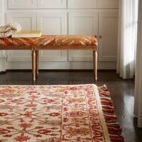 Hand-hooked Pink/ Orange Floral Wool Area Rug with Fringe - 9'3 x 13'