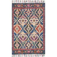 """Hand-hooked Blue/ Pink Multi Geometric Wool Area Rug with Fringe - 9'3"""" x 13'"""