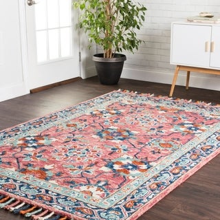 "Hand-hooked Pink/ Blue Floral Wool Area Rug with Fringe - 9'3"" x 13'"