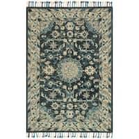 Hand-hooked Sonnet Teal/ Grey Wool Rug - 9'3 x 13'
